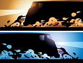 Vector Superhero Stopping a Train Silhouette