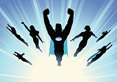 A vector silhouette style illustration of a superhero team flying in group with a blue themed sunburst background.