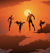 A vector silhouette style illustration of a team of superheroes hovering mid-air in the sky, with cloud and a sun shines in the background. Wide space available for your copy.
