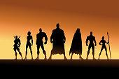 A set of superhero team silhouette vector illustration