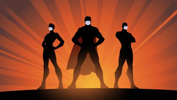 外科マスクシルエットストックイラストのベクタースーパーヒーローチーム - new normal点のイラスト素材/クリップアート素材/マンガ素材/アイコン素材