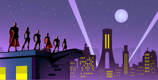 Vector Superhelden-Team in der Stadt Silhouette Illustration – Vektorgrafik