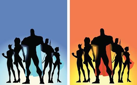 Vector Superhero Team Poster