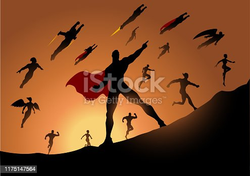 A silhouette style illustration of a team of superheroes running to attack with sunlight in the background. Easy to edit.
