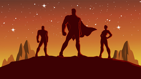 Vector Superhero Team Silhouette at Night Stock Illustration