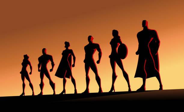 vektor superhelden team silhouette illustration - gerechtigkeitsliga stock-grafiken, -clipart, -cartoons und -symbole