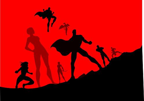 Vector Superhero Team Silhouette Illustration