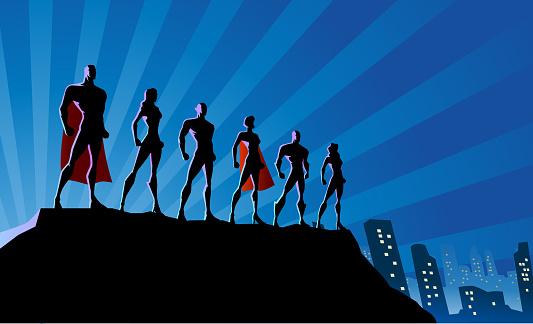 Vector Superhero Team Silhouette in The City Stock Illustration