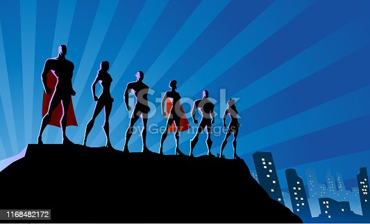 A silhouette style vector stock illustration of a team of superheroes standing on top of a rock with city skyline and light bursts in the background