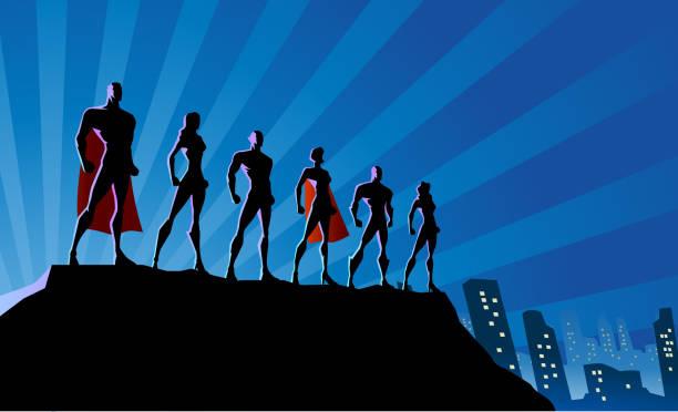 illustrations, cliparts, dessins animés et icônes de silhouette d'équipe de super-héros de vecteur dans l'illustration de stock de ville - super héros