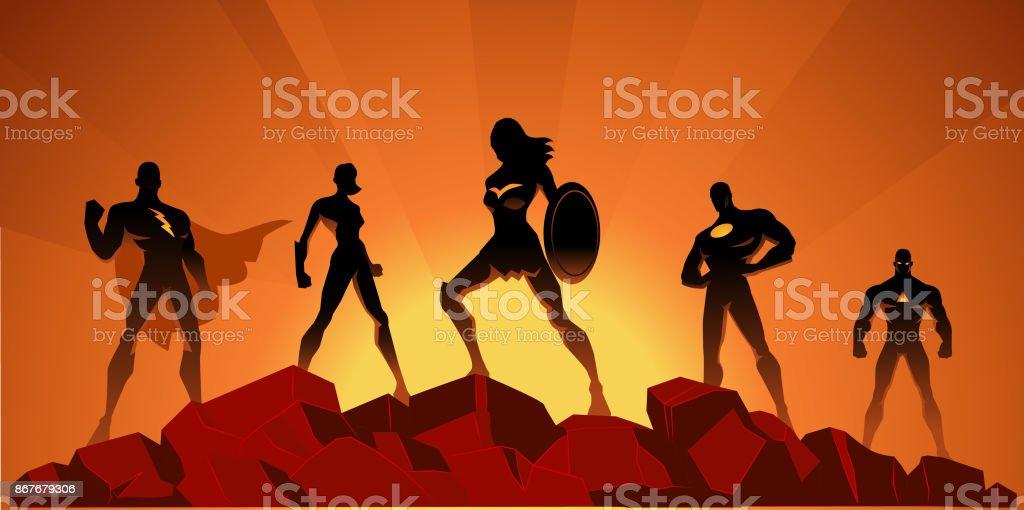 Vector Superhero Team Silhouette on Rocks vector art illustration