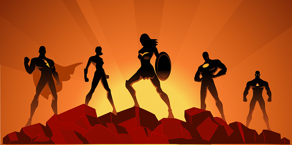 Superhero silhouette stock illustrations