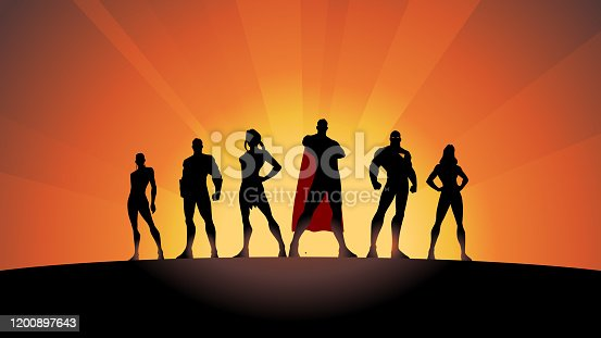 A silhouette style vector illustration of a team of superheroes standing in row.  Wide space available for your copy.