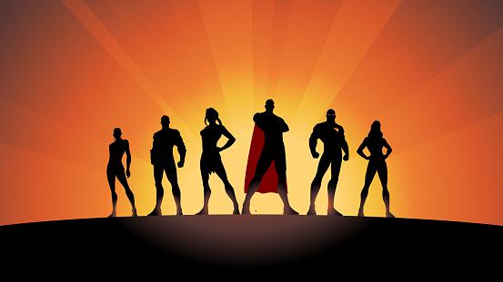 Vector Superhero Team Silhouette Stock Illustration