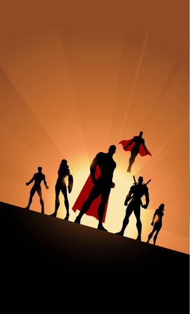 Vector Superheld-Team Silhouette Tilted View mit Sonnenlicht im Hintergrund – Vektorgrafik