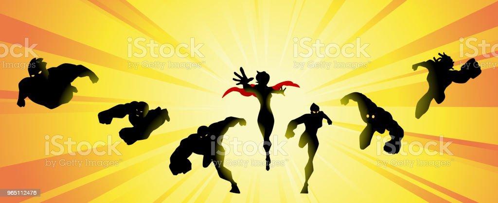 Vector Superhero Team Silhouette with Sunburst royalty-free vector superhero team silhouette with sunburst stock vector art & more images of action movie