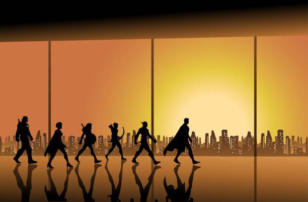 illustrazioni stock, clip art, cartoni animati e icone di tendenza di vector superhero team walking in a hall with city skyline background - city walking background