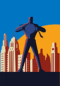 Vector retro style illustration of a man ripping shirt and reveal superhero costume inside. Wide space available for your copy.