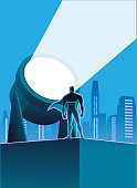 A vector illustration of a superhero with a big light signal in the background. Put your logo or text on it.