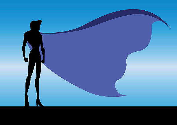 vektor-superheld frau im night-silhouette - superwoman stock-grafiken, -clipart, -cartoons und -symbole