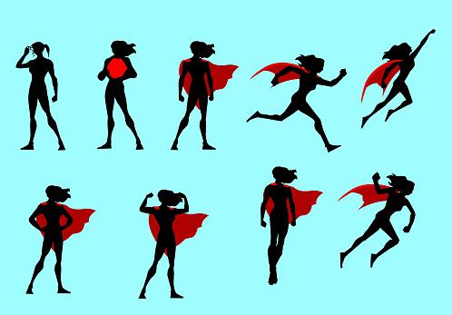 Vector Superhero Woman Silhouette Set