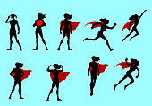 A set of silhouette illustrations of a superhero woman in many different poses. Isolated easy to grab and edit.