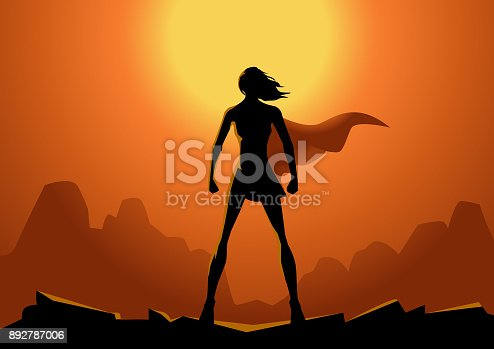 A silhouette style illustration of a woman superhero with sun setting in the valley background