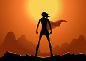 Vector Superhero Woman Silhouette with Sun in the Background