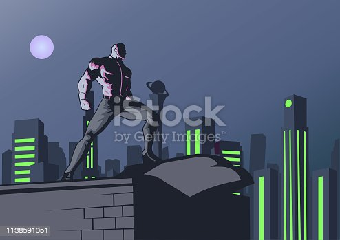 A retro style illustration of a superhero white collar worker standing on a rooftop with city skyline background. Wide space available for your copies.