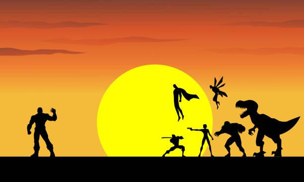 bildbanksillustrationer, clip art samt tecknat material och ikoner med vector superhjältar mot en jätte superskurk med solnedgången i bakgrunden - superhjälte isolated