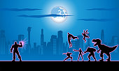 A silhouette style illustration of a team of superheroes pitted against a giant super villain with city skyline in the background.