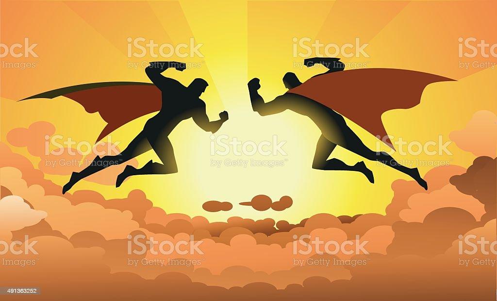 Vector Superheroes Duel in the sky vector art illustration