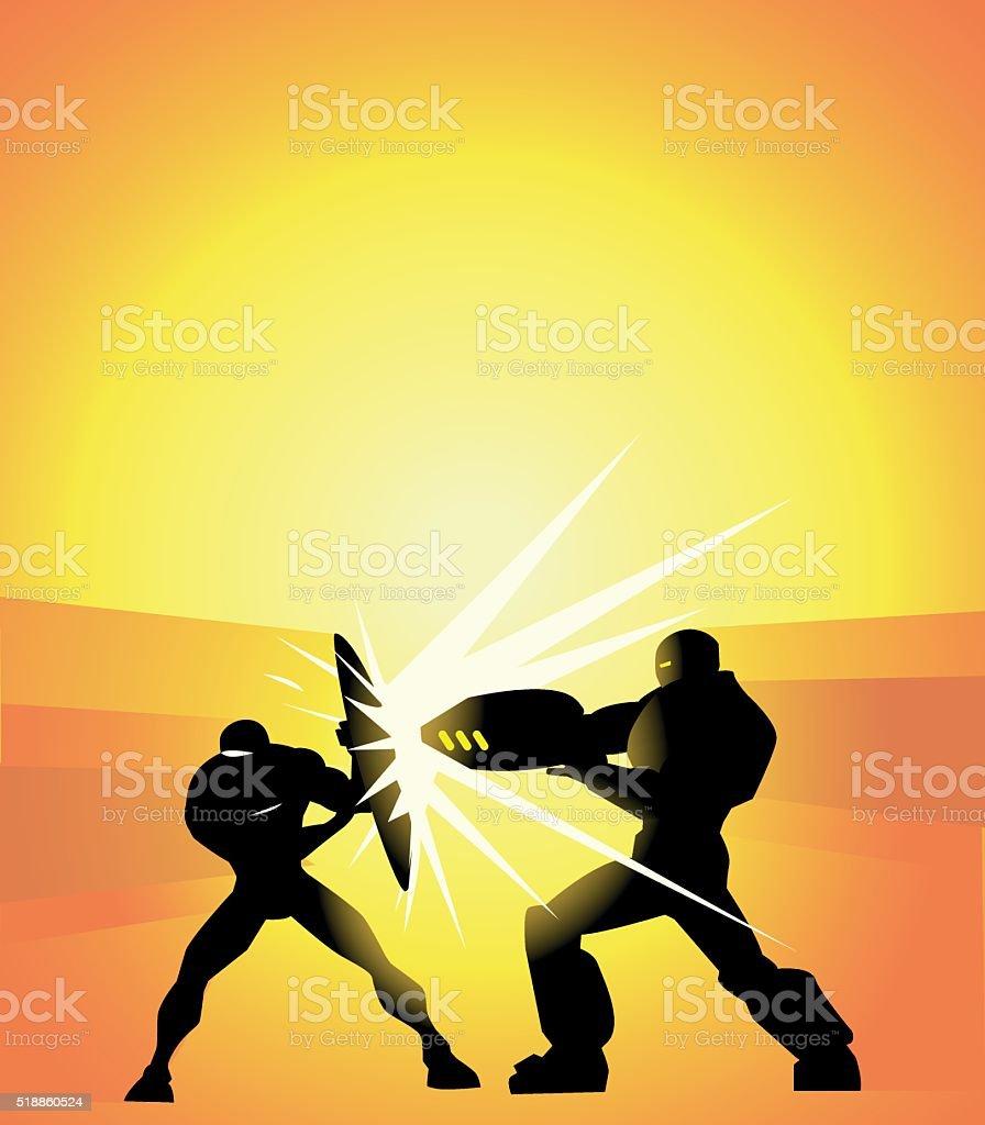 Vector Superheroes Duel vector art illustration