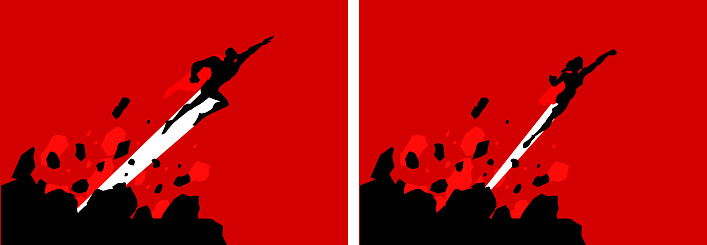 Vector Superheroes Flying Out of Rocks Silhouette