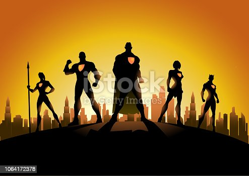 A silhouette style vector illustration of a team of superheroes pose with city skyline in the background.