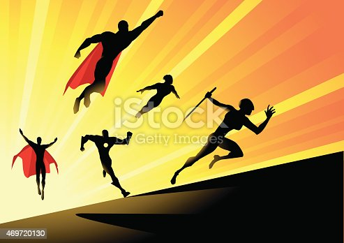 A silhouette style vector illustration of a superhero team charging up ahead to face the enemies with a sunburst effect in the background