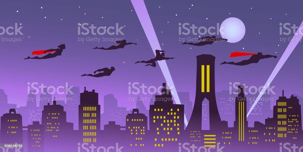 都市上空を飛んでいるベクトル スーパー ヒーロー チーム ベクターアートイラスト