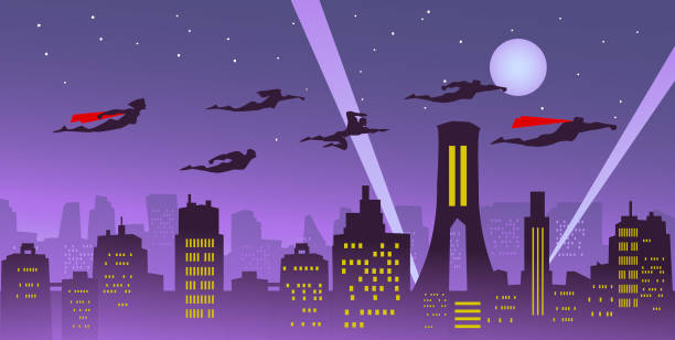 都市上空を飛んでいるベクトル スーパー ヒーロー チーム - 漫画の風景点のイラスト素材/クリップアート素材/マンガ素材/アイコン素材