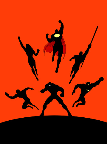 Vector Superheroes Team in Action Silhouette