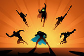 A silhouette style illustration of a team of superheroes in many action poses. Easy to grab and edit.