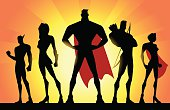 A silhouette style vector illustration of a superhero team consisting of different distinguishable character looks.