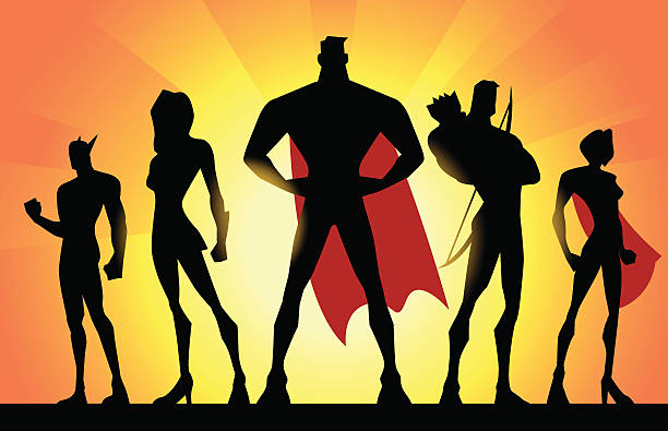 stockillustraties, clipart, cartoons en iconen met vector superheroes team silhouette - in de camera kijken