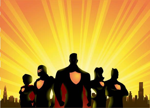 illustrations, cliparts, dessins animés et icônes de vector super-héros équipe silhouette avec ville et fond de sunrise - super héros