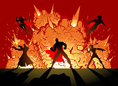 A vector silhouette style illustration of a team of superheroes with explosion in the background as in action movie.