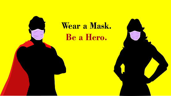 Vector Superheroes Wearing Mask Silhouette Poster Stock Illustration