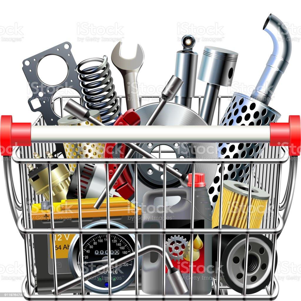 Vector Supermarket Cart with Car Parts Rear View vector art illustration