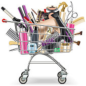 Vector Supermarket Cart with Professional Cosmetics isolated on white background