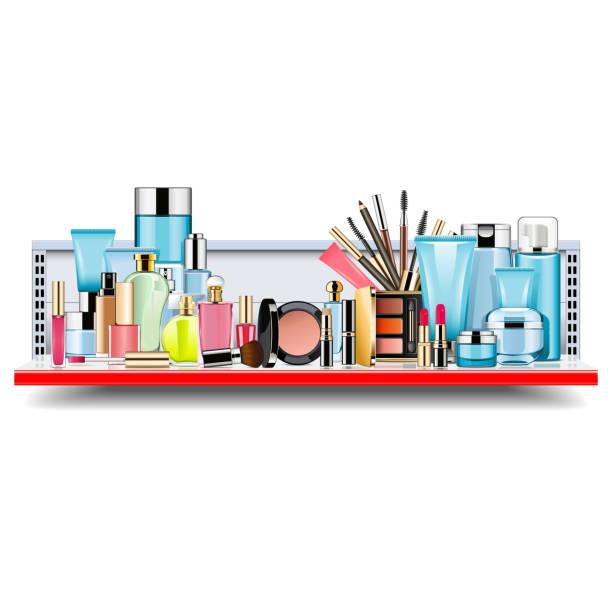 vektor-supermarkt-regal mit kosmetik - bleistifthalter stock-grafiken, -clipart, -cartoons und -symbole