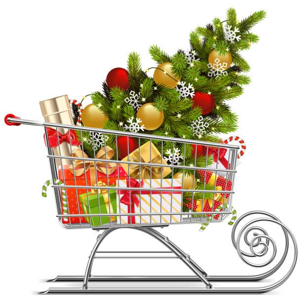 illustrazioni stock, clip art, cartoni animati e icone di tendenza di vector supermarket sleigh with christmas decorations - negozio sci