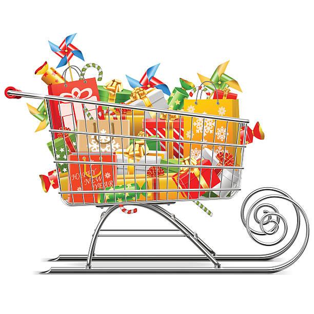 illustrazioni stock, clip art, cartoni animati e icone di tendenza di supermercato vettoriale slitta con regali - negozio sci
